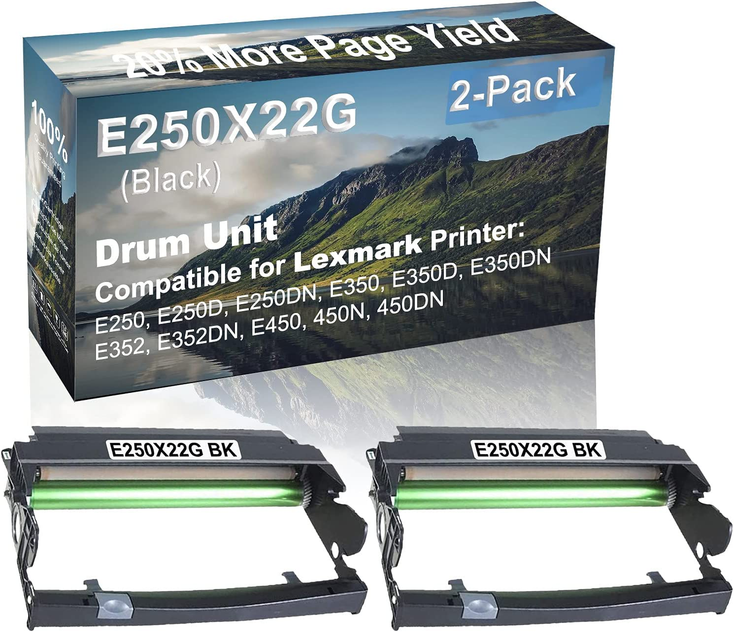 2-Pack Compatible Drum Unit (Black) Replacement for Lexmark E250X22G Drum Kit use for Lexmark E352DN, E450, 450N, 450DN Printer