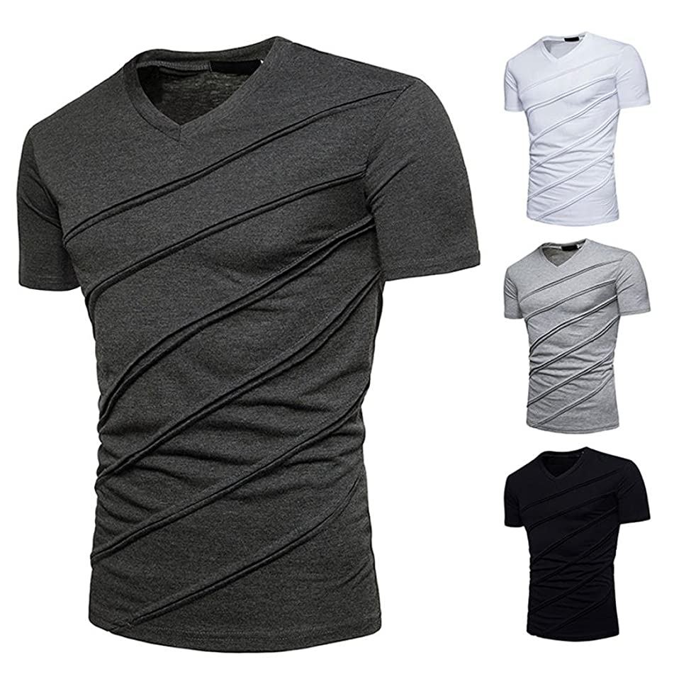 Siviki T Shirt Top Blouse Fashion Personality Men's Casual Slim Short Sleeve Solid