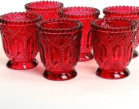 Koyal Wholesale Vintage Glass Candle Holder (Pack of 6), 3 x 2.75 (Burgundy)