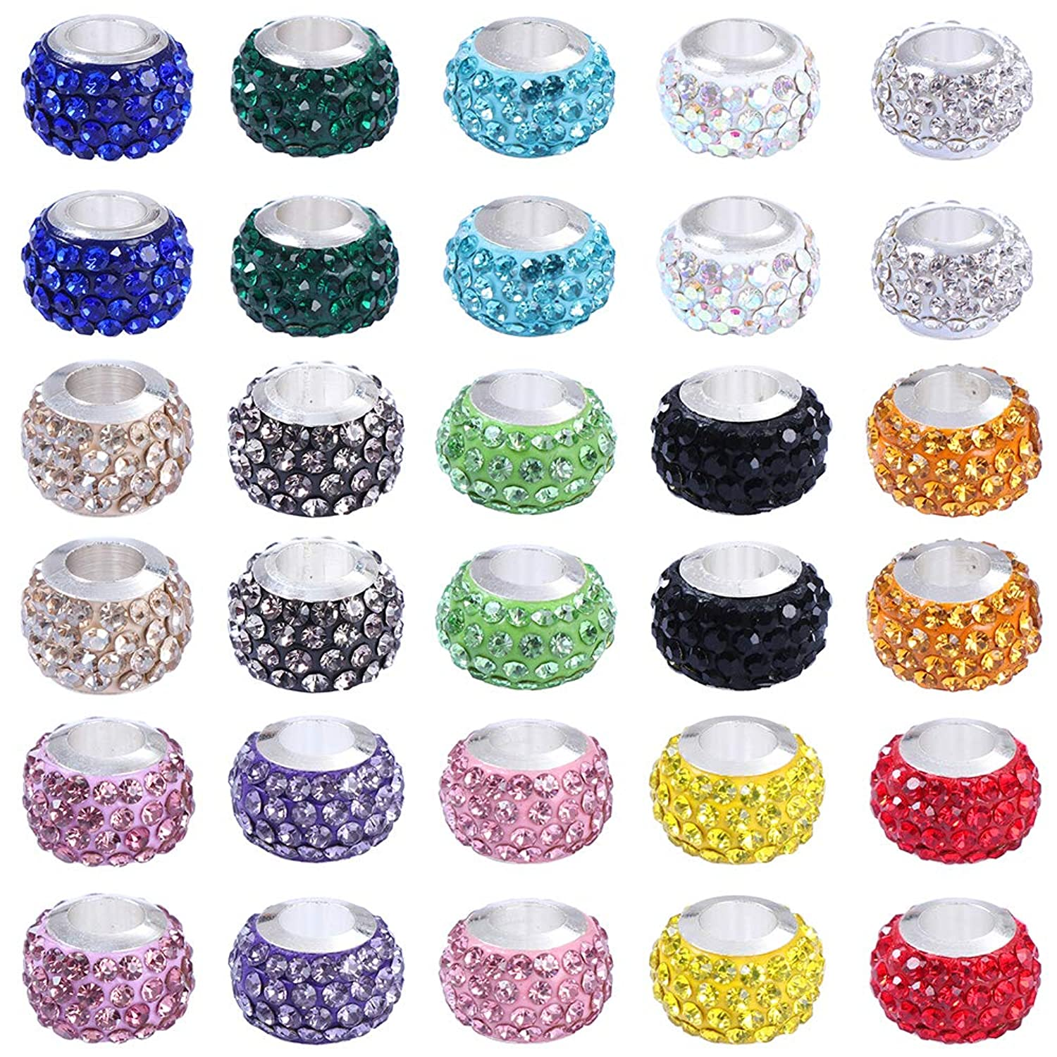30 Pieces Rhinestone Dreadlocks Beads Hair Braiding Jewelry Hair Decoration Accessories 15 Color Resin Pave Large Hole Beads for Bracelet and Necklace Crafting