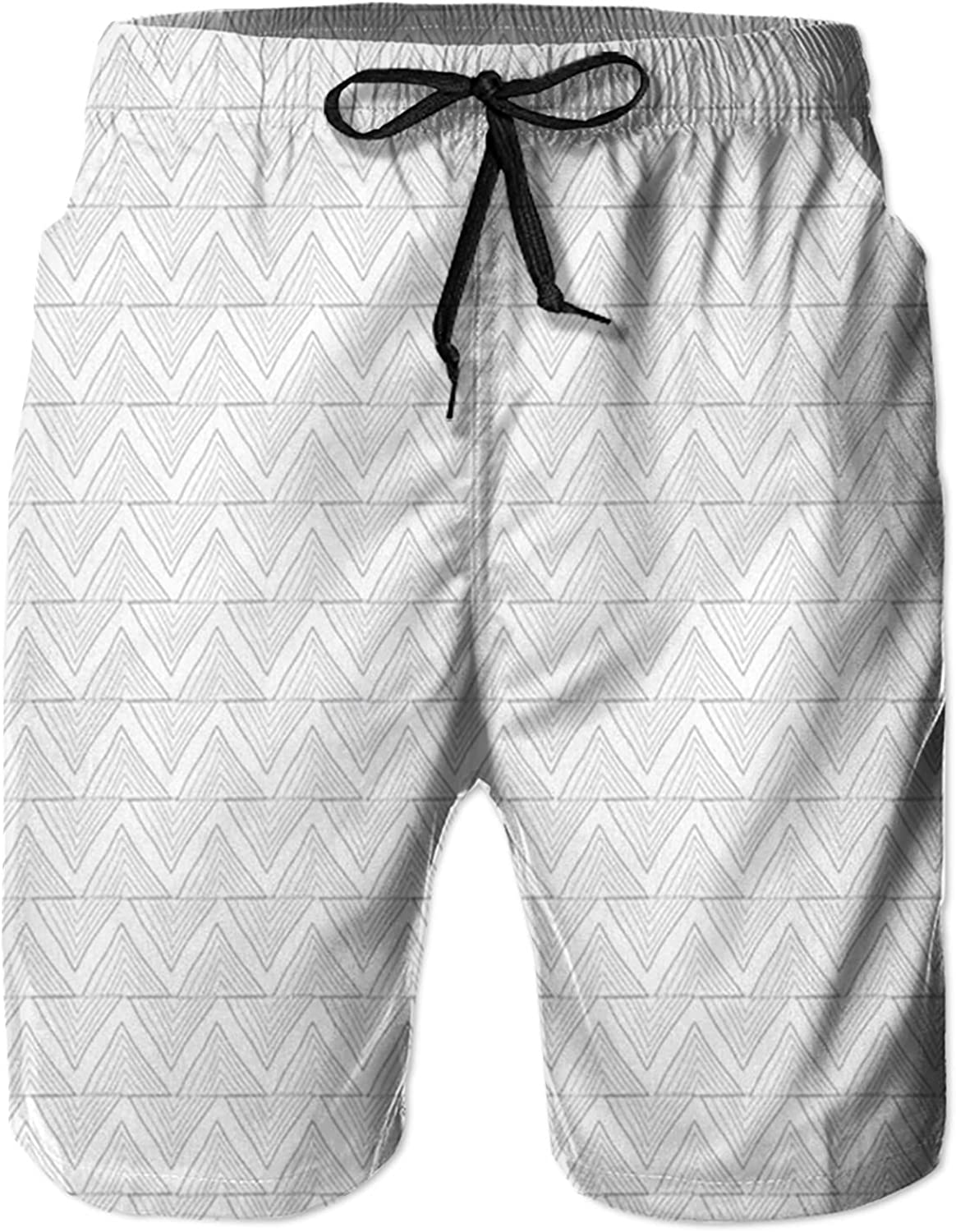 NC Men's Swim Trunks Quick Dry Beach Board Shorts Drawstring Lightweight with Elastic Waist and Pockets,Hand Drawn with Zigzag Lines Horizontal Borders Geometric M