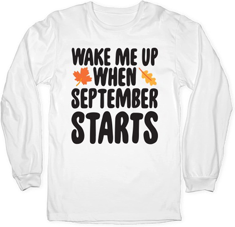 Maple Leaves Wake Me Up When September Starts Fall Autumn Long Sleeves, September Starts Fall Autumn Sweatshirt, Pumpkin Halloween Witch Autumn Shirt
