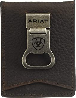 Ariat Shield Bottle Opener Money Clip Bifold Wallet