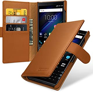 TETDED Premium Leather Case for BlackBerry KEY2 LE, Gerzat, Book Type (Nappa Brown)