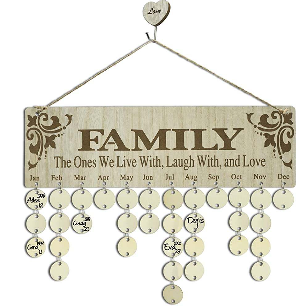 YuQi Birthday Gifts for Grandma Moms - Family Birthday Reminder Perpetual Calendar Board, DIY Wooden Birthday Tracker Wall Hanging Plaque Ornaments for Home Classroom Bar Wall Decor - Family Presents