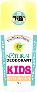 Extra Sensitive Natural Deodorant for Kids & Teens Food Grade Organic Carcinogen Free Certified Aluminum Free Gluten-Free ...