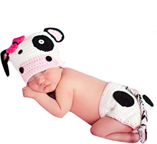 Melondipity's Baby Girl Cow Crochet Hat and Diaper Cover Set for Newborn Girls
