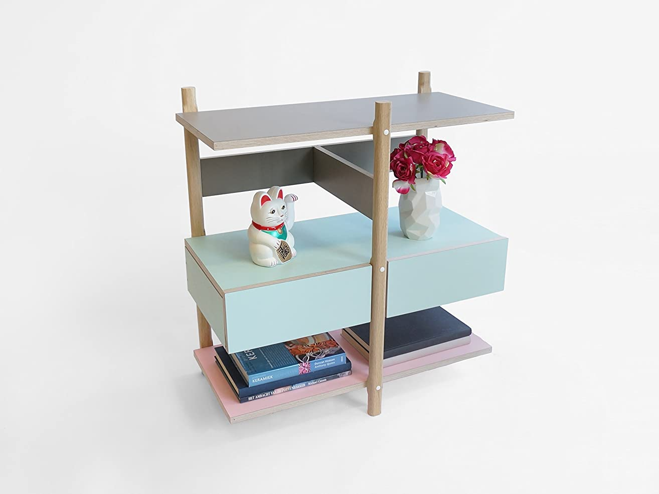 Stack Drawer Shelf - unit bed-side drawers bed-room small side storage shelving furniture table rack-ing space saving wooden wine cabinet shelves