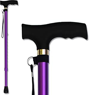 RMS Walking Cane - Adjustable Walking Stick - Lightweight Aluminum Offset Cane with Ergonomic Handle and Wrist Strap - Ideal Daily Living Aid for Limited Mobility (Lavender)