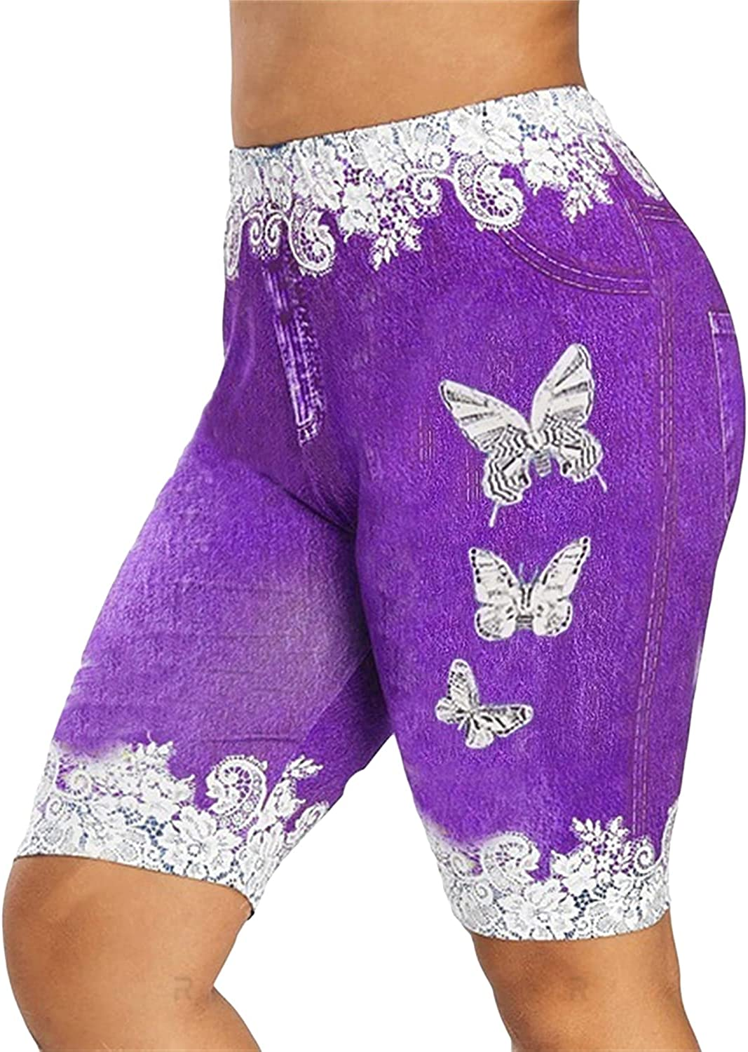 Women's Rare Printed Legging Short Jeans Butterfly Outlet sale feature Bermud Knee Length