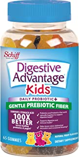 Digestive Advantage Kids Daily Probiotic Gummies With Prebiotic Fiber- Reduce Minor Abdominal Discomfort & Bloating, 65 Count, Natural Fruit Flavor