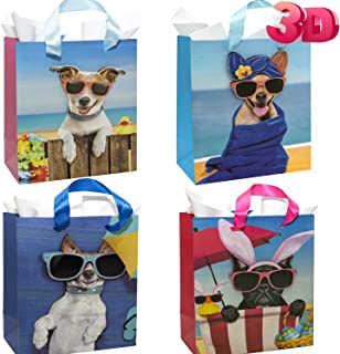 3D Puppy Dog Treat Bags Party Favor Bags for Kids - 12 Pack Birthday Dog Theme Party Gift Bags - Dog Shower Puppy Party Paper Bags - Dog Party Supplies Decorations - Superior Thick Cardboard 3D Effect