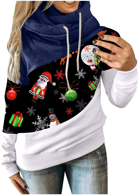 Hoodies for Women Pullover Turtleneck Color Block Long Sleeve Pu