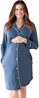 Kindred Bravely Clea Bamboo Button Down Nursing Nightgown | Long Sleeve Maternity Nightgown