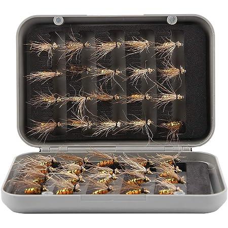 40ピース 蚊フライフィッシングルアーセット 耐腐食性 人工昆虫釣り 釣りフック 蚊の形 高い誘引力 フィッシングルアー 明るい色 フライ釣り用 ドライ トラウト 釣り スチール ボックス付き
