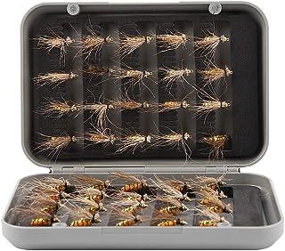 40個 毛バリ 毛鉤 疑似餌 渓流 釣り テンカラ毛針セット 人工昆虫釣りフック プラスチックボックス フライフィッシング用 蚊フライフィッシングルアーセット 約14*9.5*2.8cm