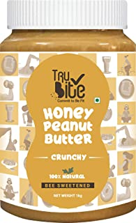 Trubite Natural Honey Peanut Butter (Crunchy) (1kg) | 27g Protein | No Added Sugar | No Added Preservatives | Non GMO | Gl...