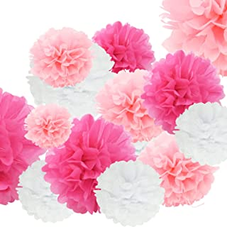 24pcs Craft Paper Tissue Pom Poms, Doubletwo Ceiling Decor Wall Decor; 12inches 10inches 8inches Hanging Paper Pom-poms Flower Ball Wedding Party Outdoor Decoration Flowers Craft Kit (Pink White)