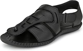 EL PASO Men's Genuine Leather Black Formal Casual Ethnic Office Party Sandal