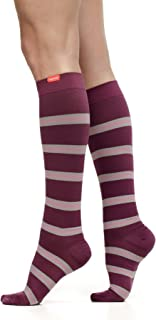 VIM & VIGR Women's 20-30 mmHg Compression Socks: Work to Play Stripe - Plum & Mauve (Nylon) (Wide Calf)