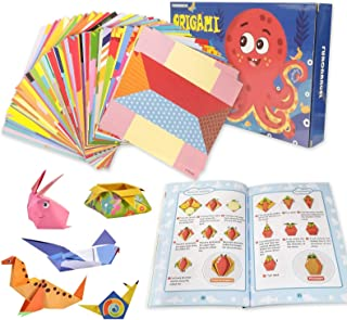 Origami Paper Kit for Kids 72 Origami Vivid Patterns English Instructional Folding Book for Child Adults School Craft Less...
