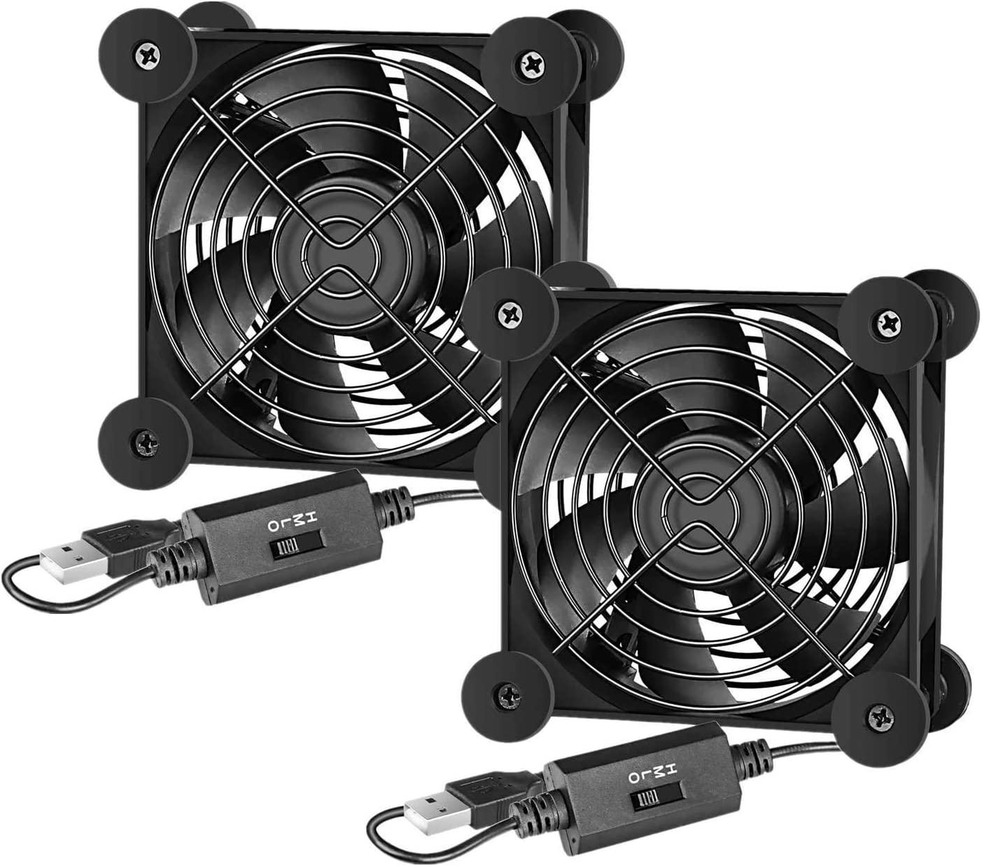 Simple Deluxe 2-Pack 80mm Quiet USB Fan with Multi-Speed Controller, High Performance Cooling Fan for Receiver Router DVR Playstation, Xbox Computer Cabinet Cooling