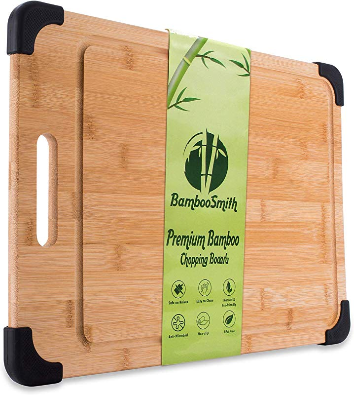 Large Organic Bamboo Cutting Board Wooden Chopping Board With Handles Non Slip Grips And Juice Grooves For Meat Vegetables More Deluxe Kitchen Accessories 18 X 12