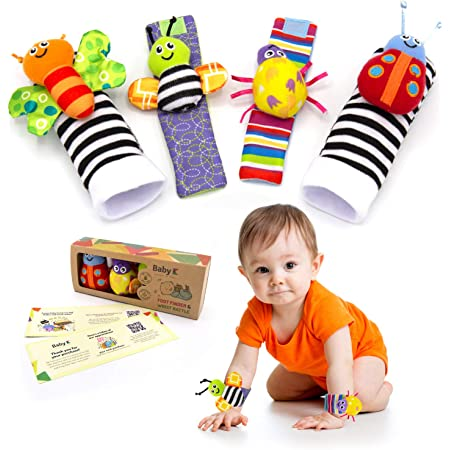 BABY K Foot Finder Socks & Wrist Rattles (Butterfly Bugs Set A) - Newborn Toys for Baby Boy or Girl - Brain Development Infant Toys - Hand and Foot Rattles Suitable for 0-3, 3-6, 6-12 Months Babies