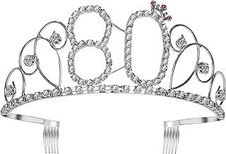 Frcolor Happy Birthday 80th Crystal Rhinestone Tiara Crown