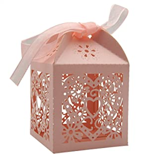 KEIVA 100 Pack Love Heart Laser Cut Wedding Party Favor Box Candy Bag Chocolate Gift Boxes Bridal Birthday Shower Bomboniere with Ribbons (Pink, 100)