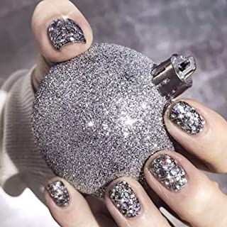 Drecode Glitter False Nails Bling Silver Sequins Square Full cover Fake Nails Wedding Birthday Party Clip on Nails for Women and Girls