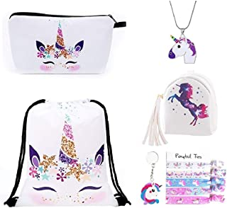 Pink Rainbow Unicorn Backpack, Mini Waterproof Backpack for Girls Kids 4 Set