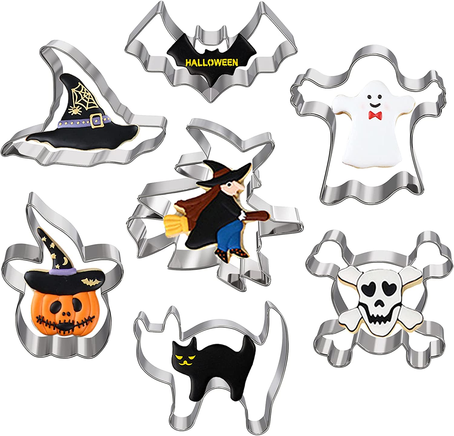 Hibery Halloween Cookie Max 69% OFF Cutters Set Pumpkin Cooki Reservation Holiday 7 Pcs