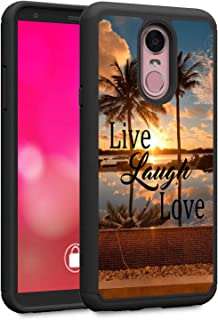 LG Stylo 4 Case, LG Stylo 4 Plus Case, LG Q Stylus Case, Rossy Heavy Duty Hybrid TPU Plastic Dual Layer Armor Defender Protection Case Cover for LG Stylo 4,Live Laugh Love Quotes Palm Tree