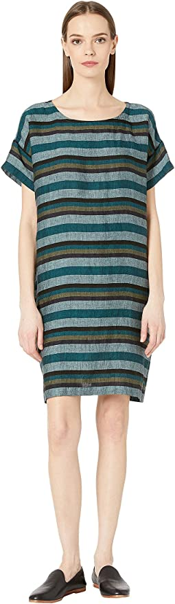 2e2ef71d506 Eileen Fisher. Organic Cotton Hemp Striped Shift Dress.  131.60MSRP    188.00. Teal