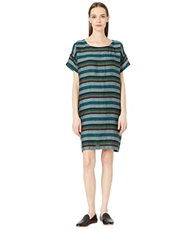 Eileen Fisher Round Neck Short Sleeve Short Dress (Teal) Women