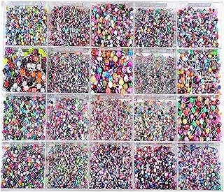 PIXNOR Anillos de Lengua Acrílicos 100Pcs Anillos de Lengua Coloridos Piercing Joyería de Piercing de Cuerpo de Barra de A...