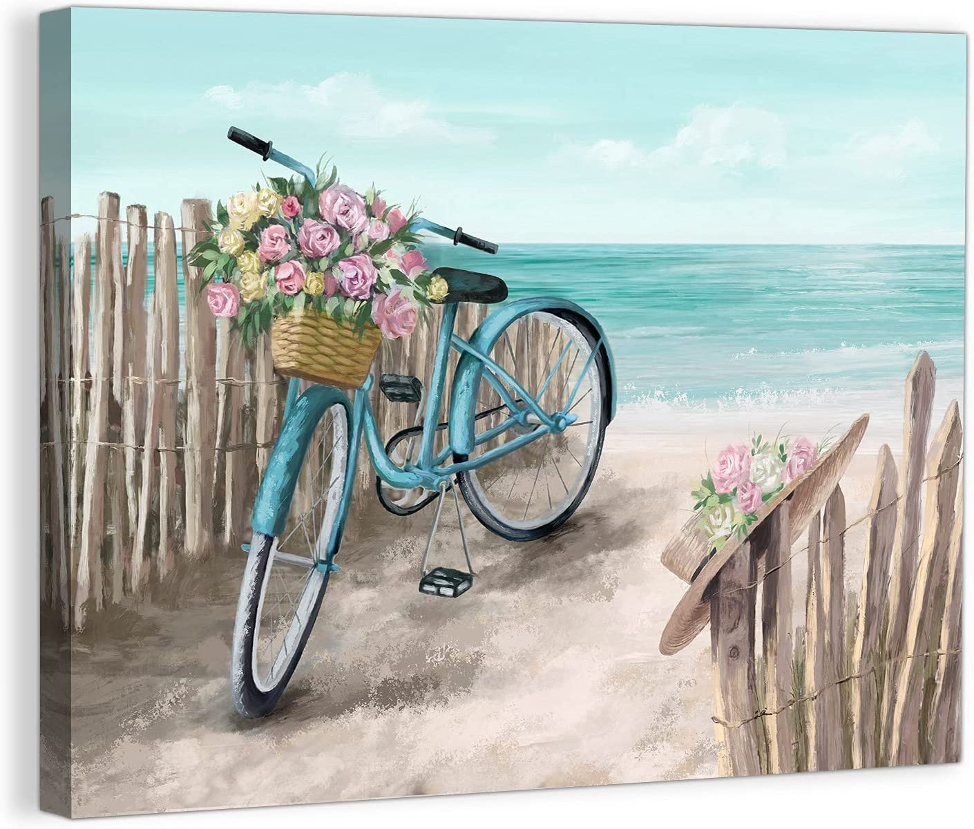 Beach Canvas Wall Art for Bathroom Bicycle Theme Ocean Painting Pictures for Kids Room Decor Modern Seaside Wall Decor for Bedroom Kitchen Framed Artwork for Office Home Wall Decoration Size 12x16