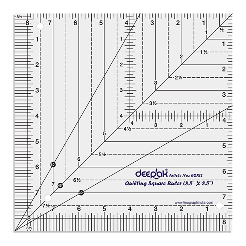 Square Shape Quilt Designing and Crafting Quilting Ruler Template 8.5 x 8.5 Inches