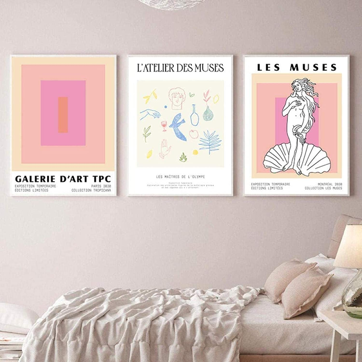 LangGe Nordic Style 3 Piece 11.8x19.7in(30x50cm) No Frame Color Block Matisse Poster Abstract Wall Art Les Muses Greek Statue Greek Goddess Mid Century Home Decor