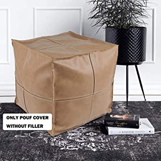 "idee-home Faux Leather Pouf Cover, Square Unstuffed Pouf Ottoman for Living Room Bedroom, PU Ottoman Foot Rest Footstool Storage Solution 16""x16""x16"", Khaki"