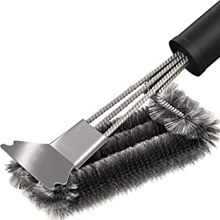 Orchid M Barbecue Cleaning Brush-Stainless steel grill cleaning brush and scraper, sturdy braided wire bristles and non-sl...