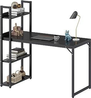 میز کامپیوتر ACCSTORE میز کامپیوتر با قفسه های ذخیره سازی ، 47.2 اینچ چوبی محکم چوبی مطالعه دفتر خانه نوشتن میز کار ، صرفه جویی در فضا ، جمع آوری آسان ، سیاه