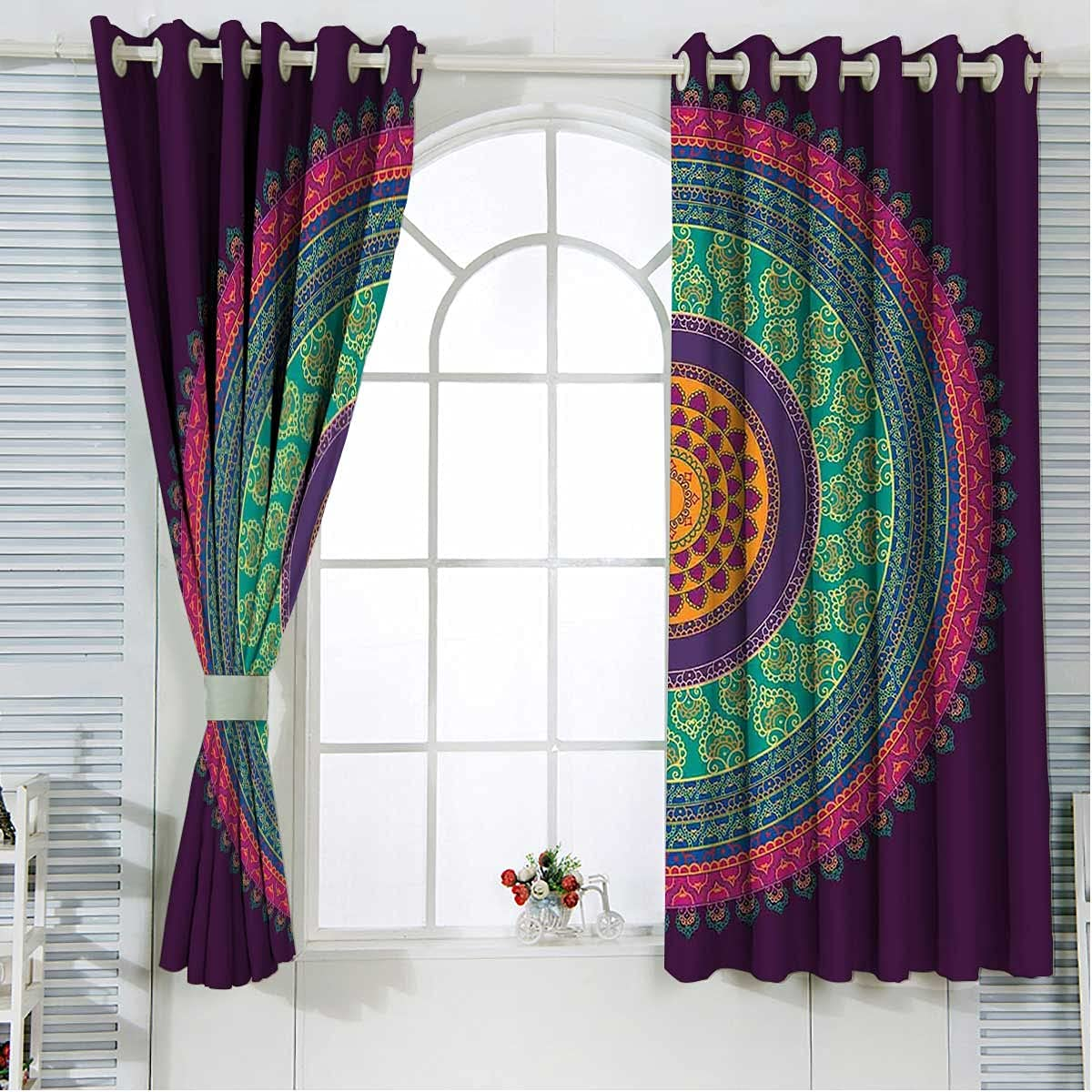 Ranking TOP17 Privacy Curtain 108 Inch Length Oriental Curls Jacksonville Mall Petals Kitch and