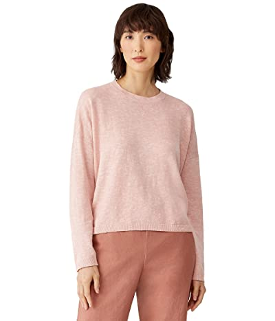 Eileen Fisher Organic Cotton Linen Slub Crew Neck Box Top (Powder) Women
