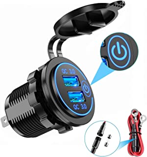 Elf Cat Quick Charge 3.0 Dual USB Car Charger with Switch, Waterproof 36W 12V USB Outlet Fast Charger Power Outlet for Mar...