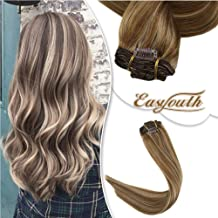 Easyouth 22inch Double Weft Clip in Hair Color 10 Golden Brown Highlights with 16 Golden Blonde Silky Straight Hair 120g 7Pcs per Set Remy Human Hair Brazilian Clip on Hair Extensions