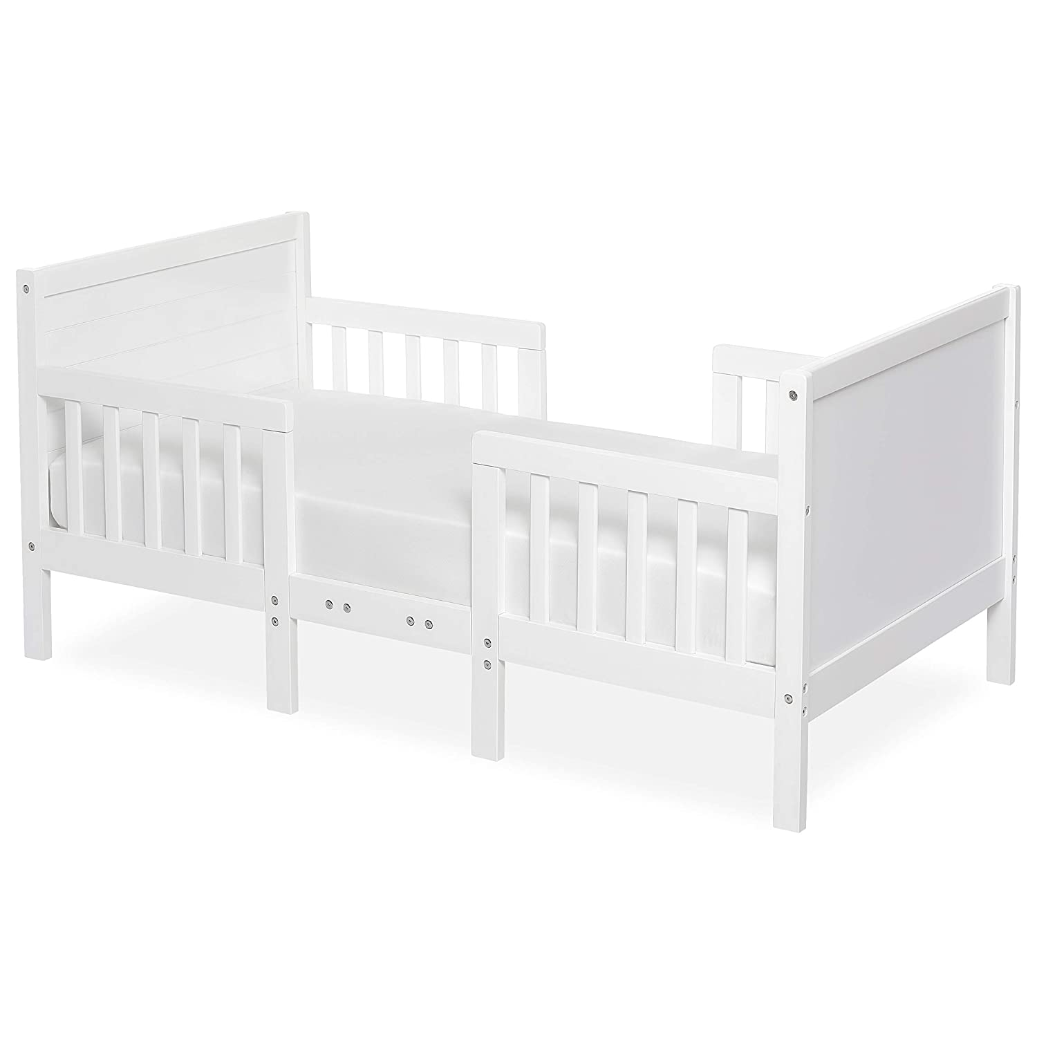 Dream On Me Hudson 3 In 1 Convertible Toddler Bed in White, Greenguard Gold Certified
