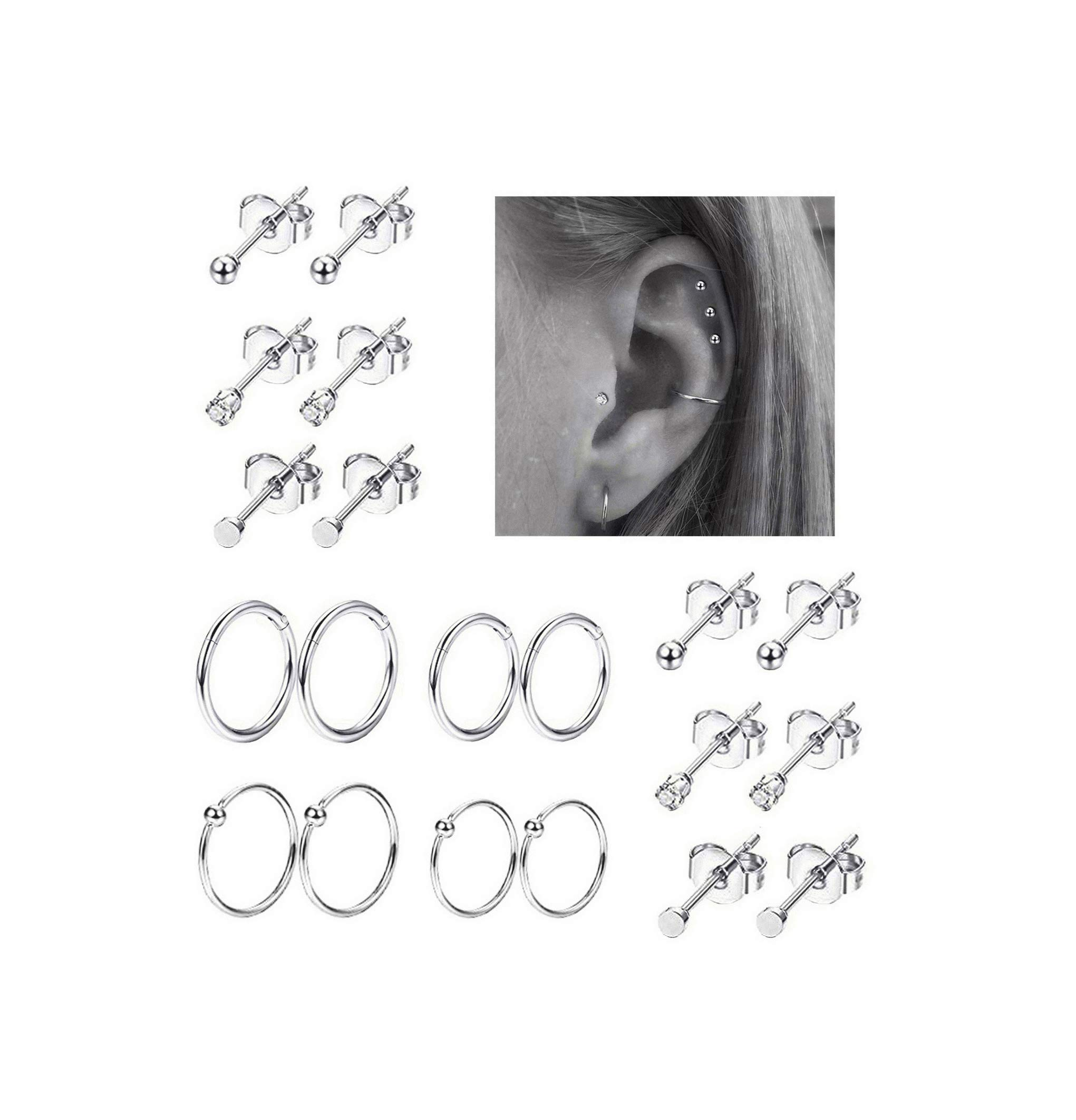 REVOLIA Stainless Piercing Cartilage Earrings