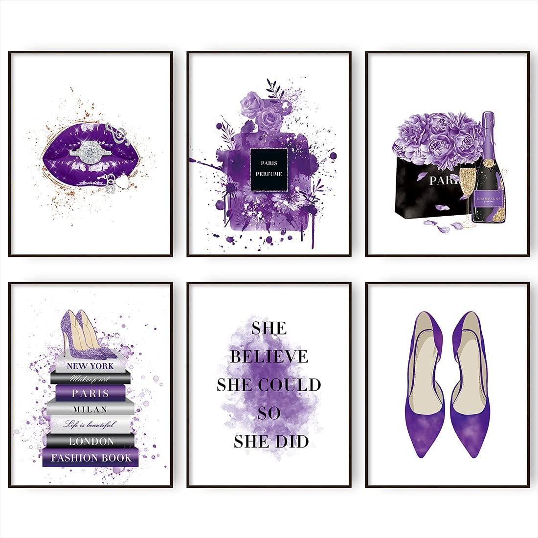 Glam Purple Wall Decor Perfume Bottle Book Lips High Fashion Design Wall Art, Bedroom Decor for Women Poster Prints Set of 6 Girl Room Decor | 8x10 In Unframed (Purple, 8x10 in)
